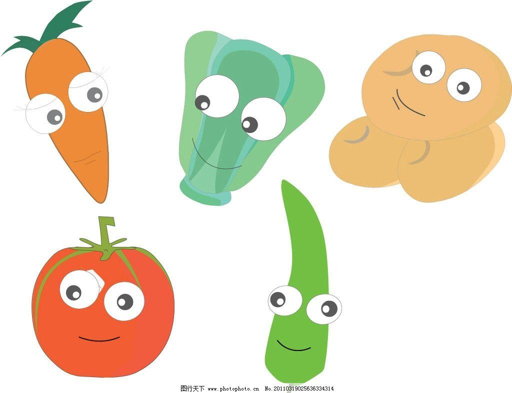 卡通蔬菜 卡通人物 红萝卜 番茄 土豆 白菜 青椒 卡通素材 手绘卡通