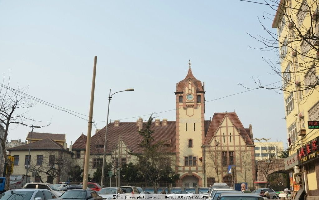 青岛警察署旧址 建筑 正面 大门 二层楼 红瓦 钟楼 德式建筑