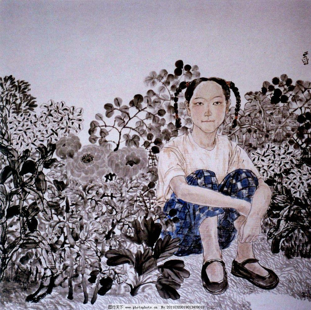 小女孩 绘画 中国画 彩墨画 工笔画 人物 少女 小姑娘 表情