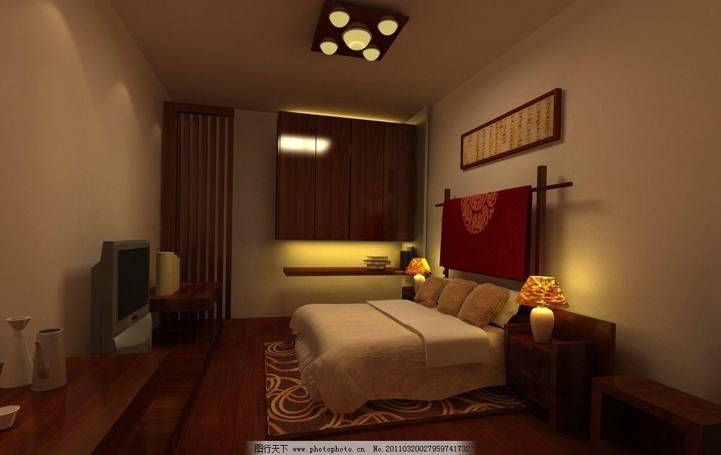 中式卧室 中式 室内效果图 室内渲染表现 3dmax效果图 家具模型 中式