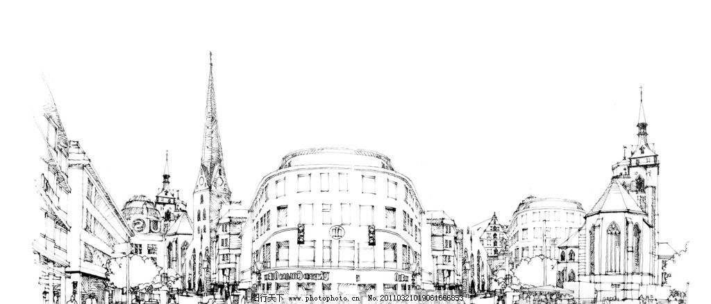 城市线描 建筑 速写 线描 黑白 线条 绘画书法 文化艺术 设计 72dpi