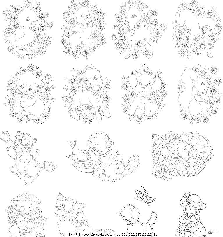 动物线描简绘画第一辑 动物线描简绘画 手绘风格矢量图 鸭子 熊 猫 羊