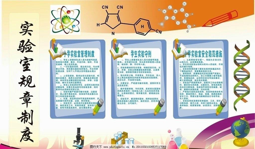科学实验室规章制度展板图片