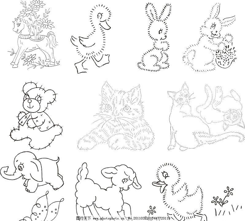 动物线描简绘画 手绘风格矢量图 鸭子 熊 猫 羊 兔子 大象 蝴蝶 矢量