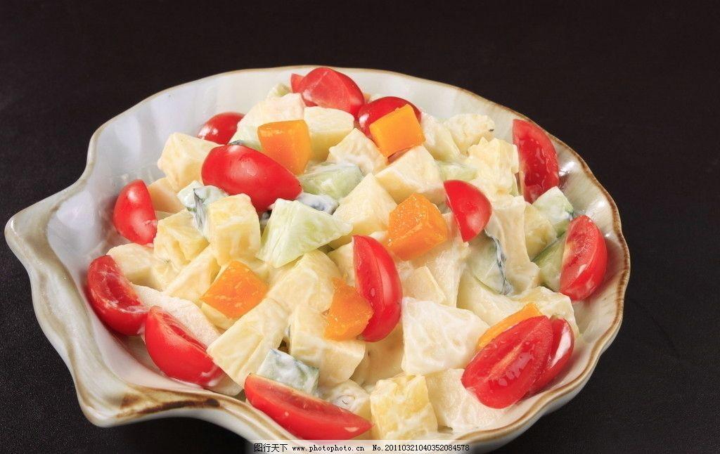 水果沙律 哈密瓜 圣女果 奇异果 沙拉 拼盘沙律 美食摄影 西餐美食