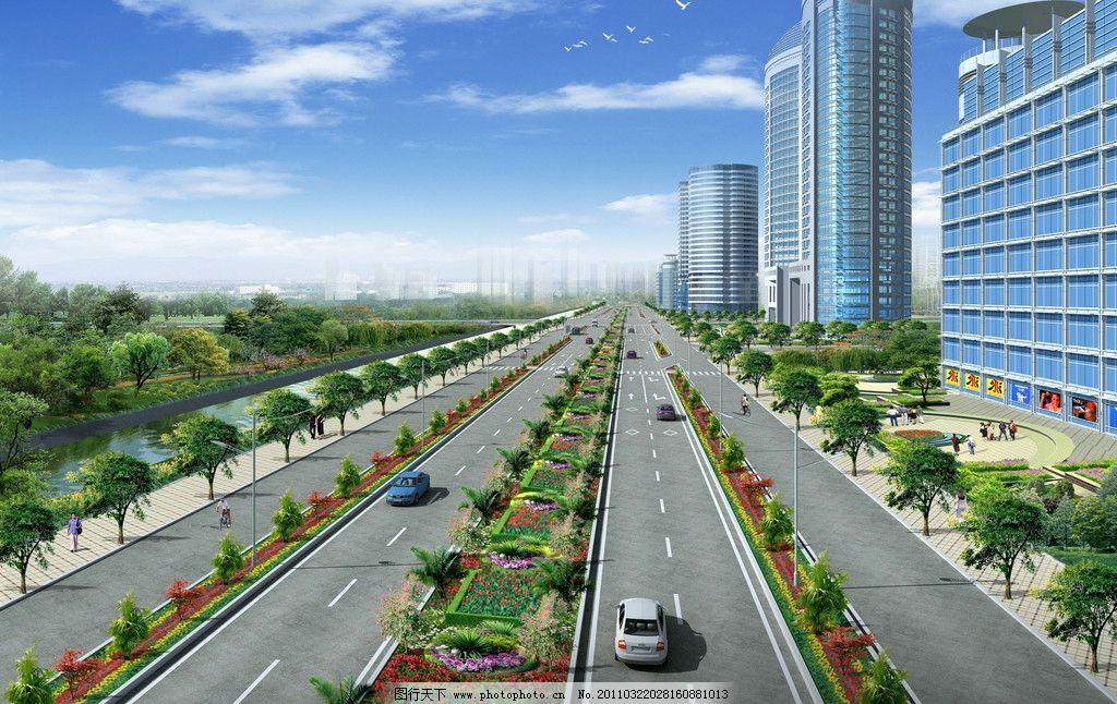 四块板道路平面效果图 马路 高楼 景观设计 环境设计 设计 72dpi jpg
