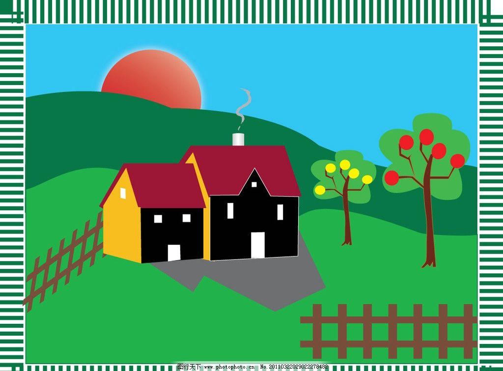 小木屋 边线 木屋 太阳 树 栅栏 渐变天空 矢量图 其他 建筑家居 矢量