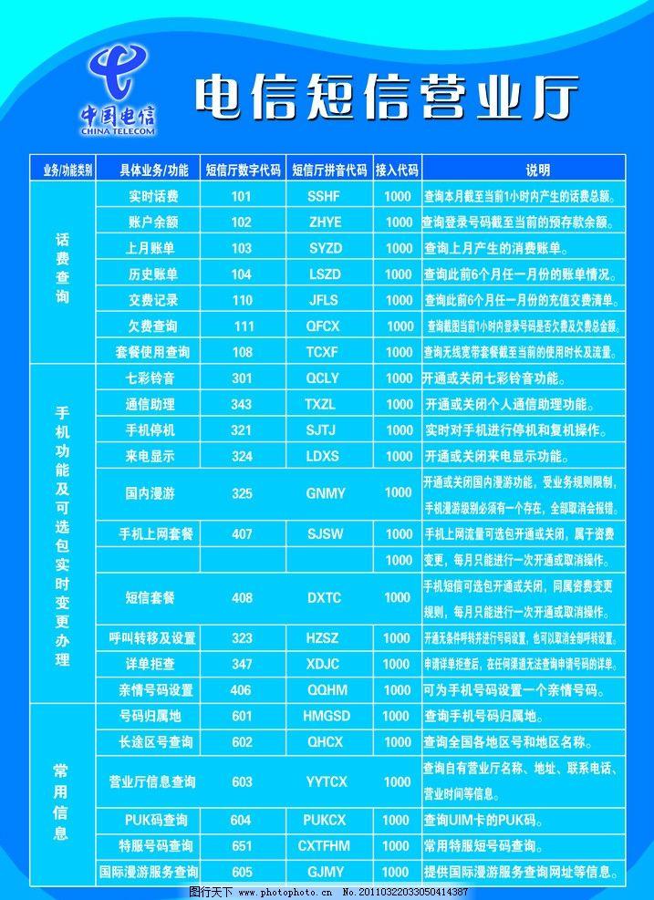 电信咨费标准图 蓝色背景 制度模版 表格 电信标志 psd分层素材 源