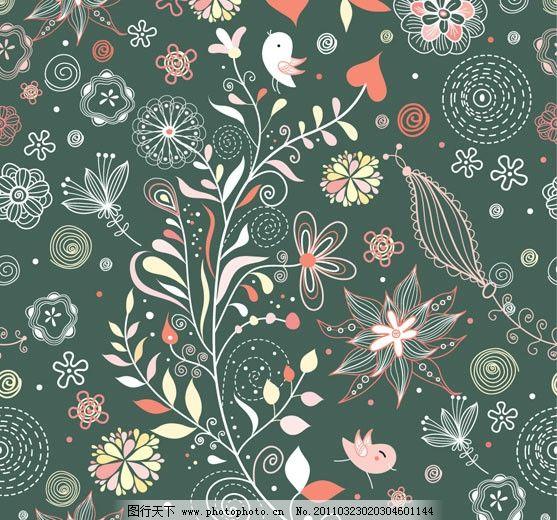 可爱花纹背景矢量素材 花边 花朵 花卉 小鸟 纹样 线条 底纹