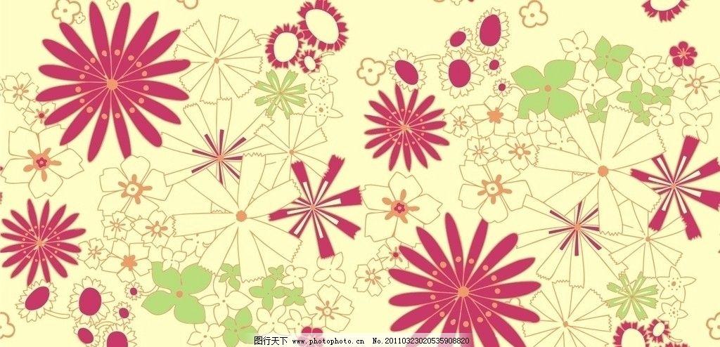 太阳花 四方连续 布花 矢量图 花 菊花 繁花似锦 条纹线条 底纹边框