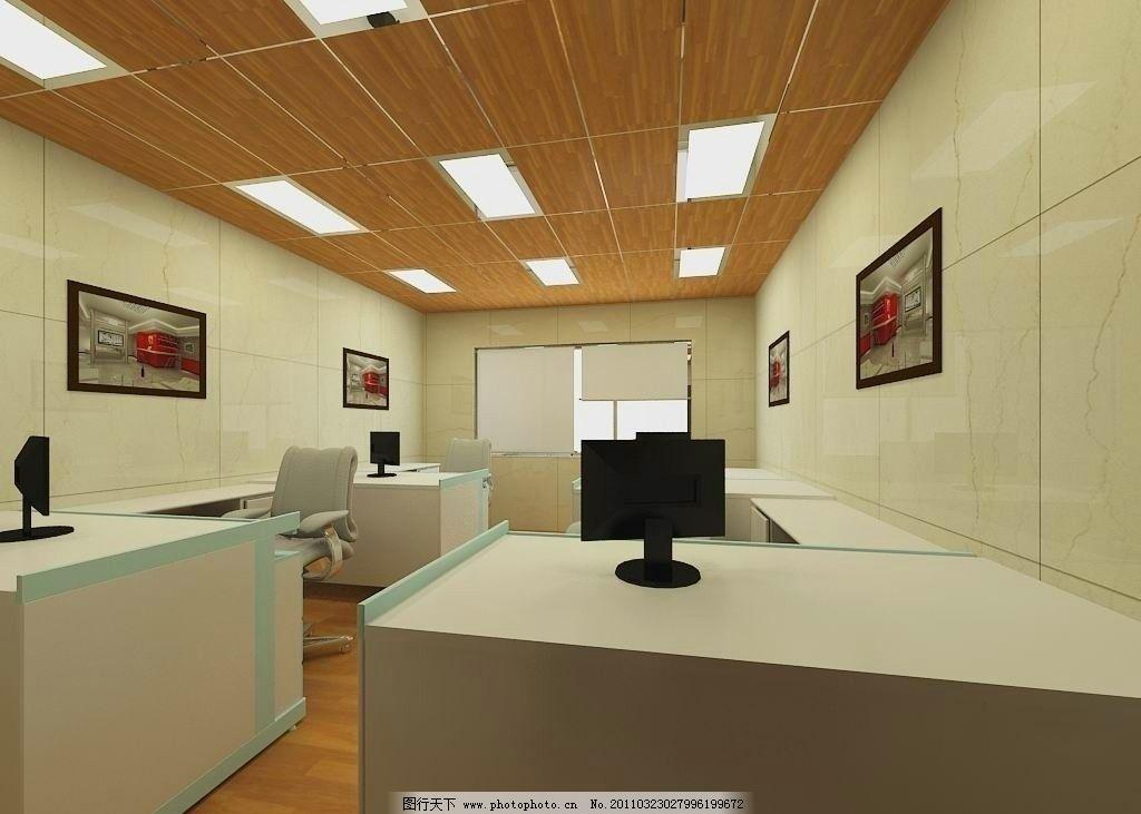 室内设计部效果图 简单 白天 日光 玻璃窗 窗帘 壁画 电脑 办公桌