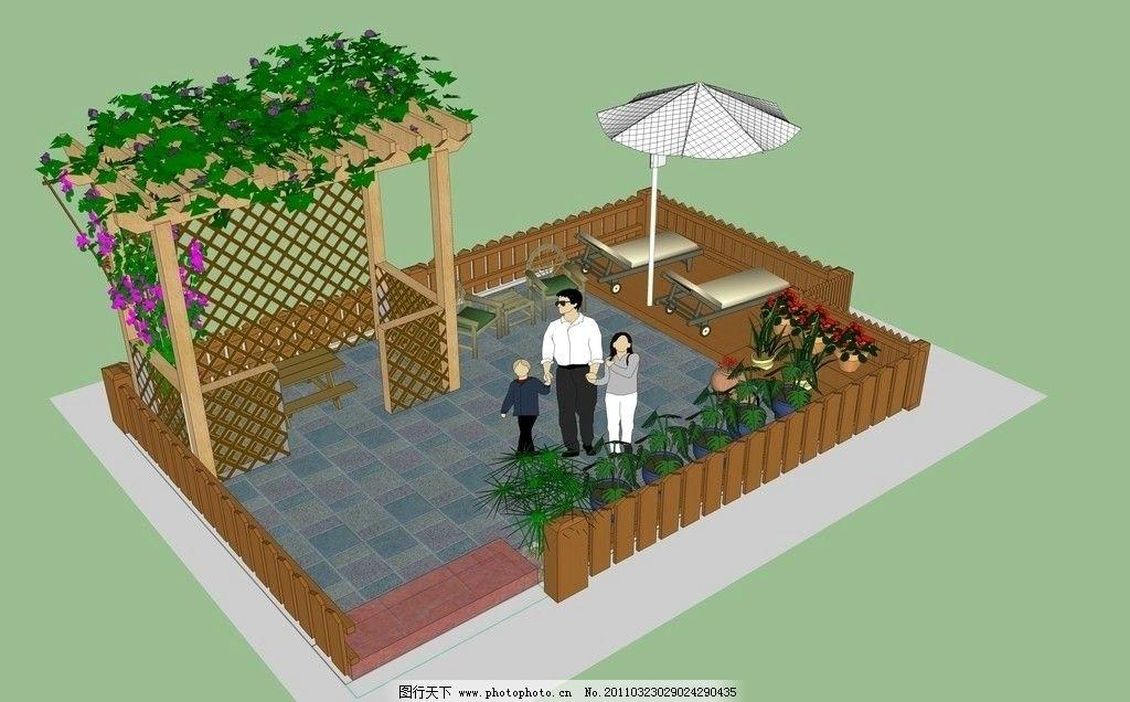 屋顶防腐木葡萄架休闲地带图片