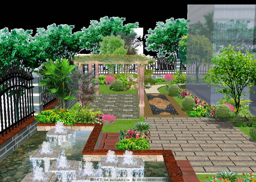 园林效果图 园林 效果 别墅 花架 水景 绿化 景观 其他设计 环境设计
