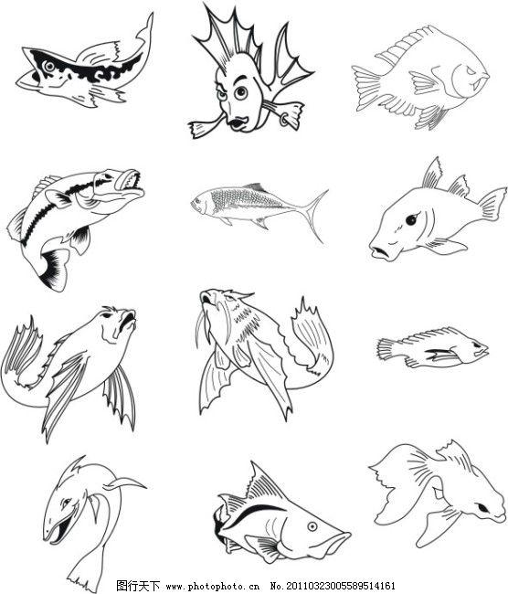 鱼类剪影免费下载 剪影矢量图 剪影图 鱼剪影 鱼剪影 剪影图 剪影矢量