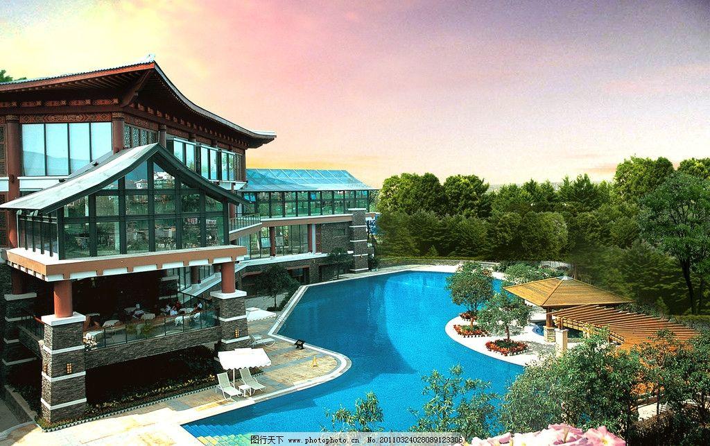 中式别墅 中式 别墅 游泳池 建筑设计 环境设计 设计 350dpi jpg
