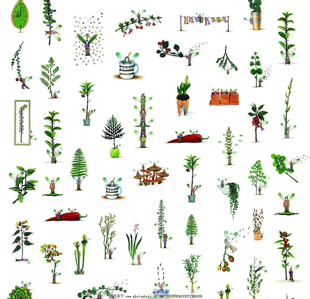 卡通植物花纹图片