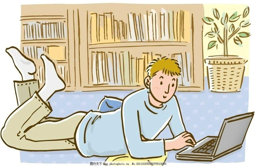 日式生活人物 上网 休闲 动漫人物 动漫动画 设计 150dpi jpg