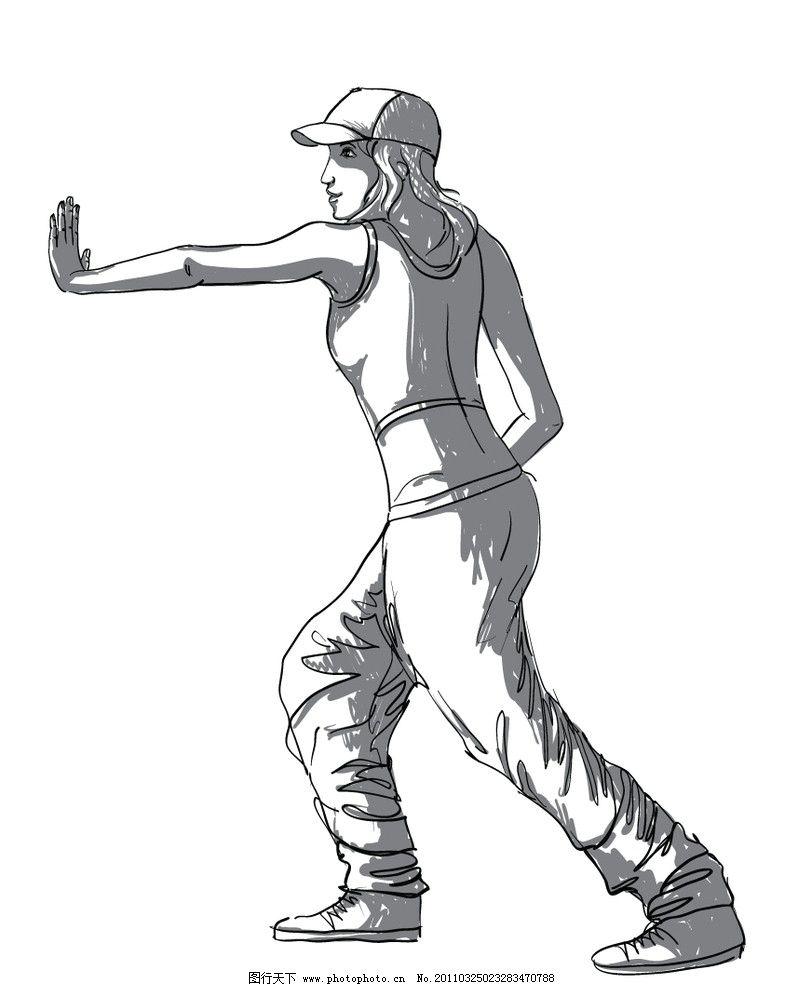 铅笔手绘街舞侧身 铅笔 手绘 街舞 铅笔手绘街舞 职业人物 矢量人物