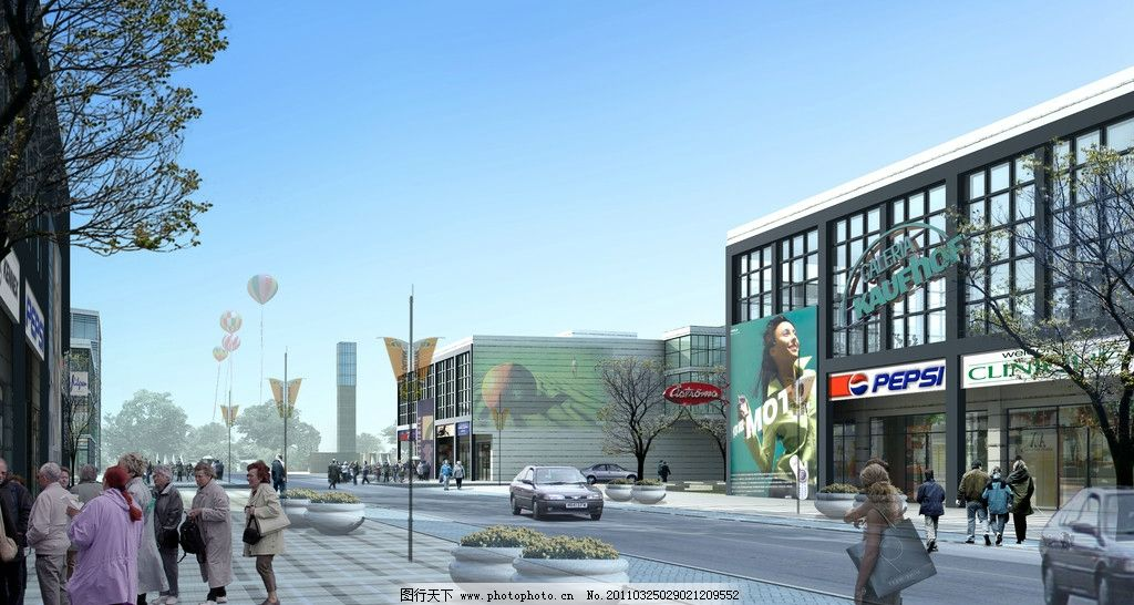 商业街道效果图 行人 商场 蓝天 树木 气球 花坛 车 路灯 其他设计图片