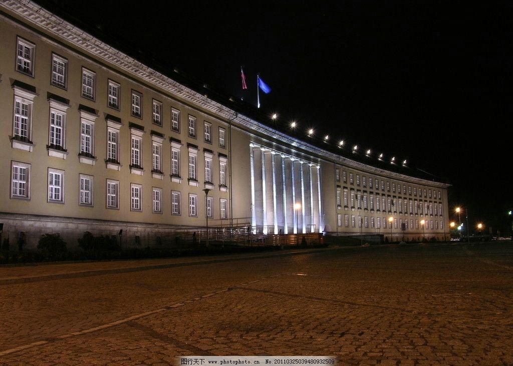 建筑夜景 建筑 欧式 夜景