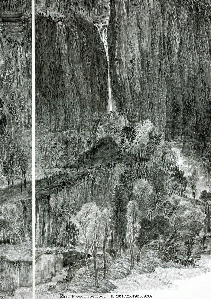 国画 毛笔画 水墨 黑白画 太行山风景 山水画 瀑布 高山流水 丛树