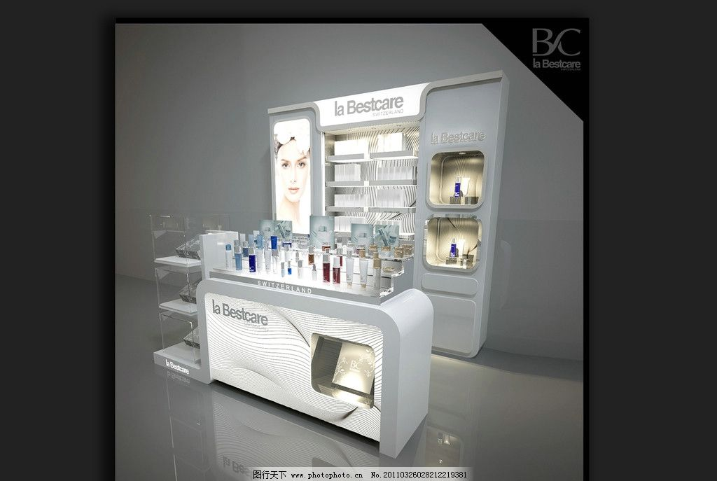 化妆品专柜 展柜 效果图 中岛 空间设计