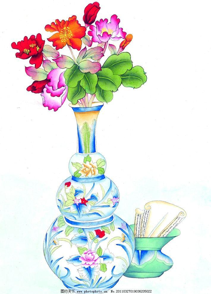 葫芦 花朵 茶花 郁金香 插花 花瓶 花卉 工笔画 花 青花瓷 花纹 瓷器