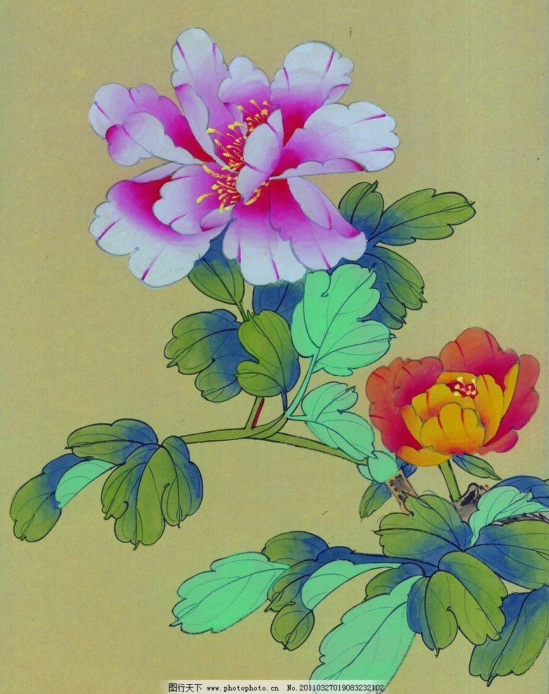工笔画 牡丹 花卉 花枝 国画 绘画 艺术 工笔花鸟 绘画书法