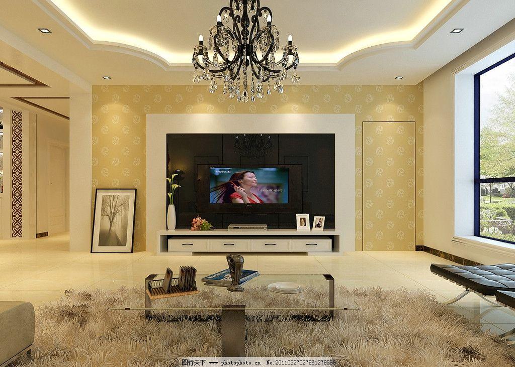 客厅效果图 现代简约 客餐厅效果图 电视背景墙 室内设计 环境设计