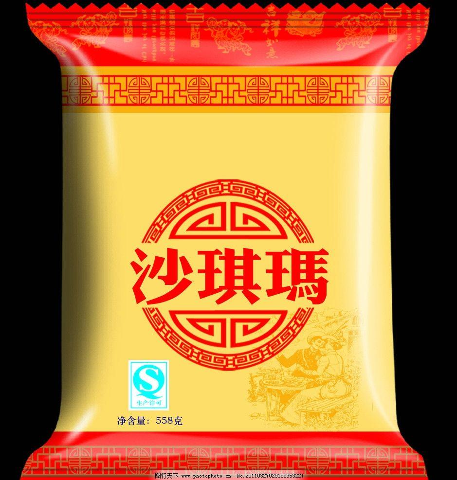 沙琪玛包装(展开图) 沙琪玛 花纹 qs 食品包装 包装设计 广告设计模板