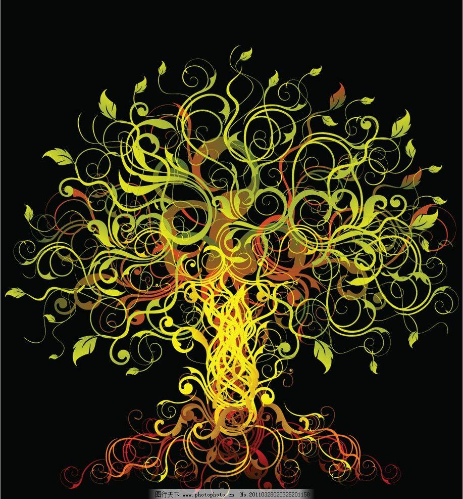 藤类植物矢量素材 藤蔓 叶子 缠绕 动感 线条 动感线条 欧式花纹