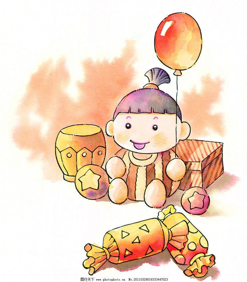 小女孩 糖果 气球 小孩 漫画人物 水彩画 动漫人物 动漫动画 设计 300