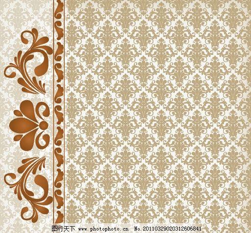 古典花纹背景矢量素材 花边 纹样 布纹 欧式 平铺 二方连续 传统