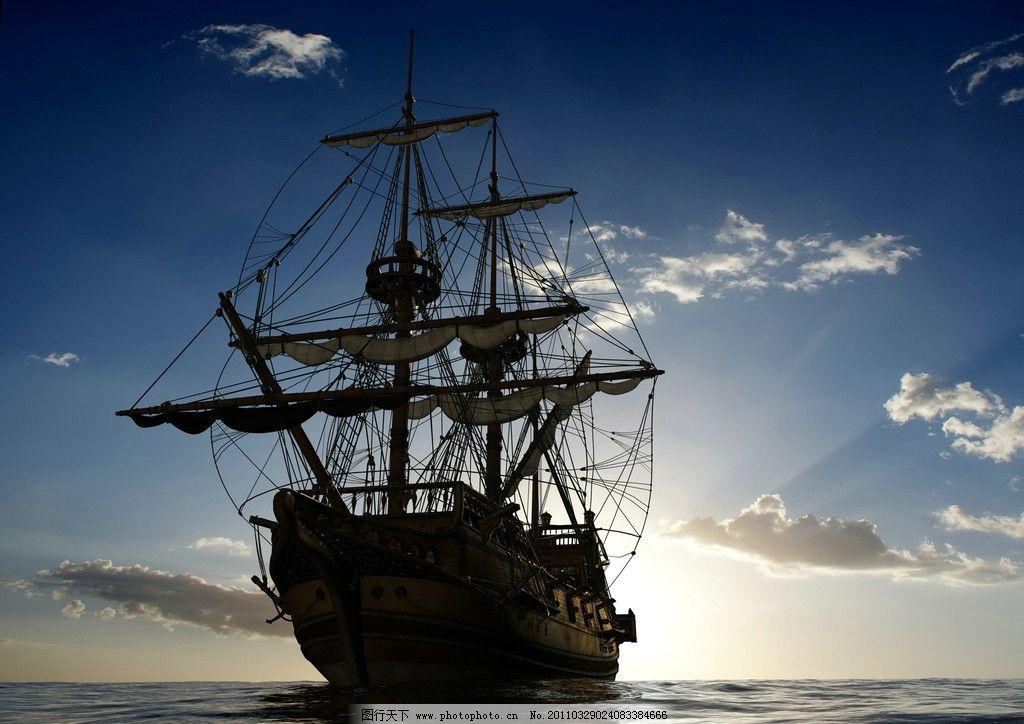 海上帆船 海水 海面 帆船 怀旧 古典 蓝天 白云 天空 云彩 自然风光