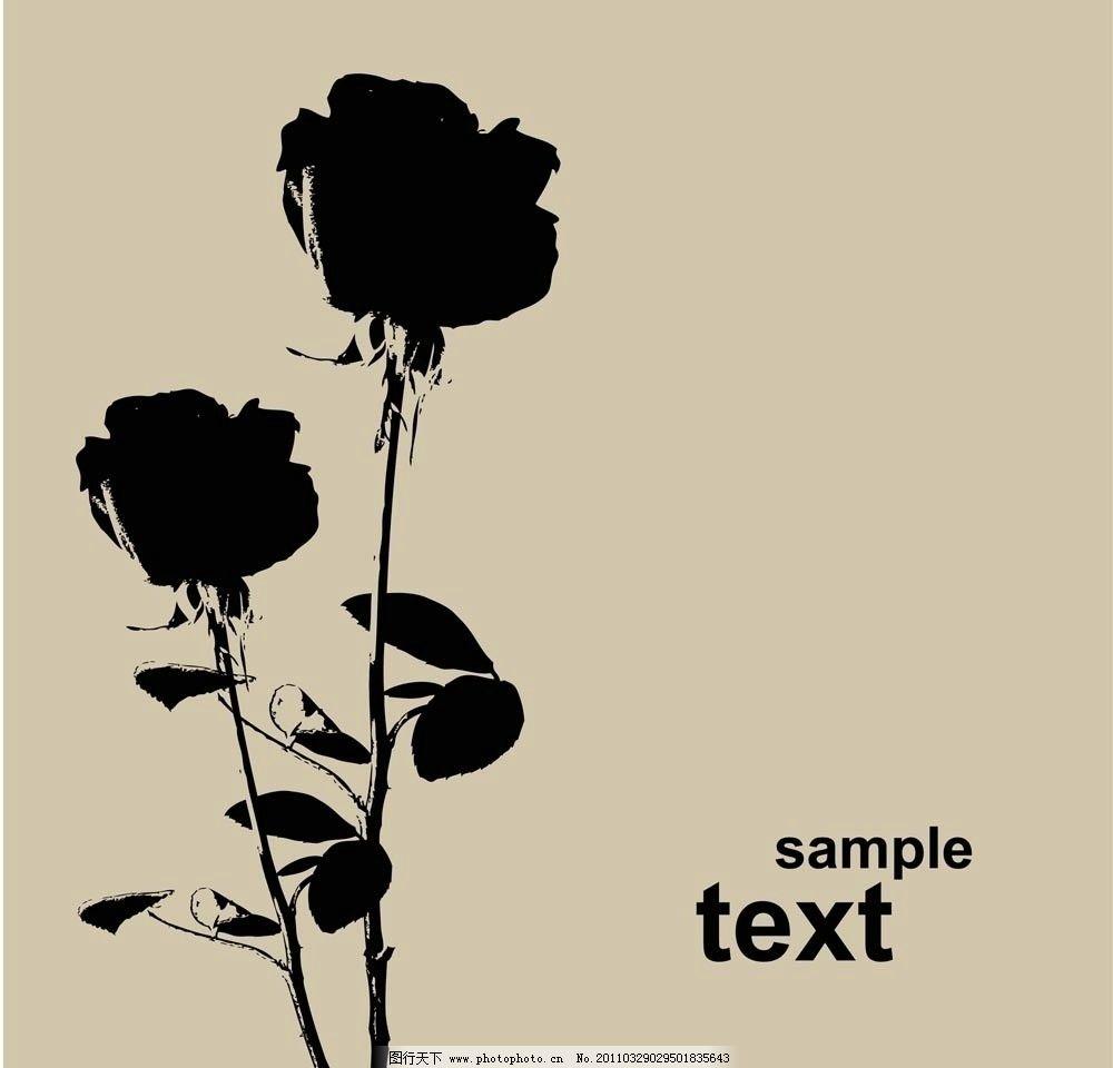 手绘玫瑰花 手绘 线稿 玫瑰花 黑白 剪影 广告设计 矢量 eps