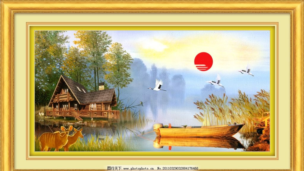 风景油画 油画风景 山水画 山水油画 油画山水 风景画 船 流水