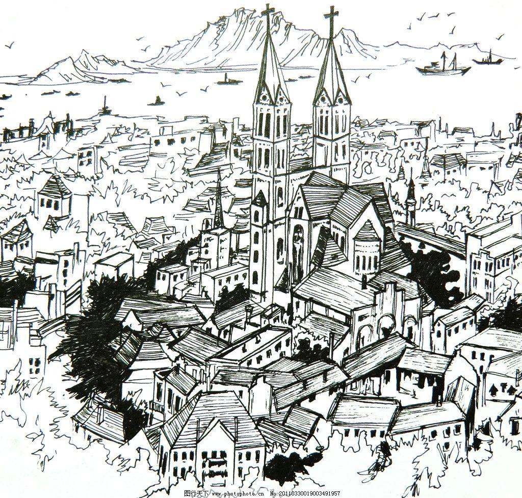 国外城市俯瞰手绘图图片