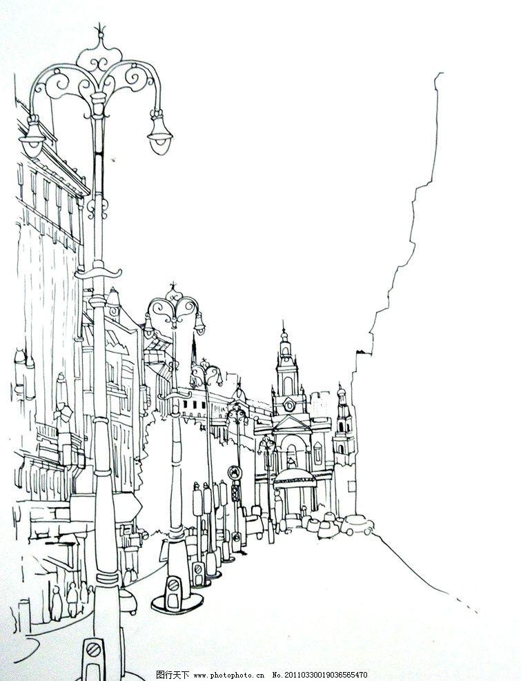 国外城市街景手绘图图片