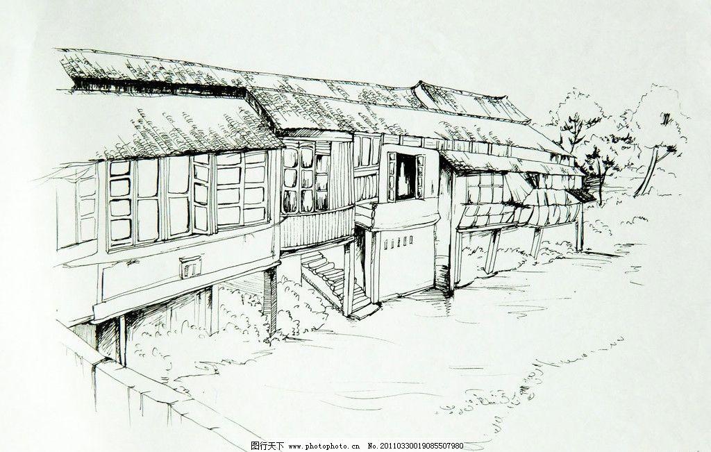 河边老房子手绘图图片