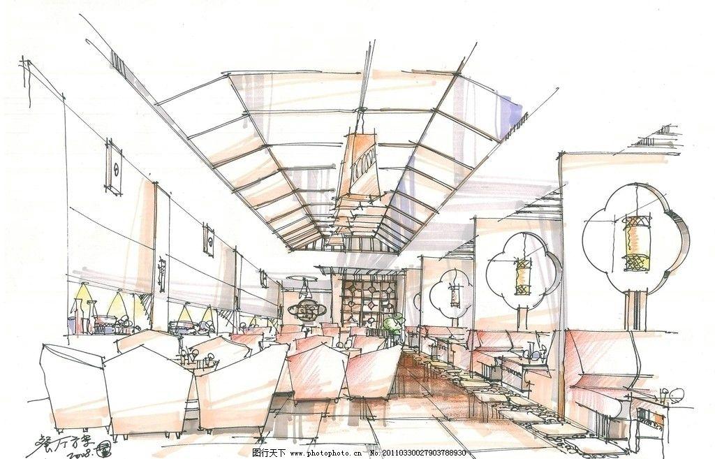 餐馆设计 手绘室内设计 麦克笔效果图 马克笔效果图 室内效果图
