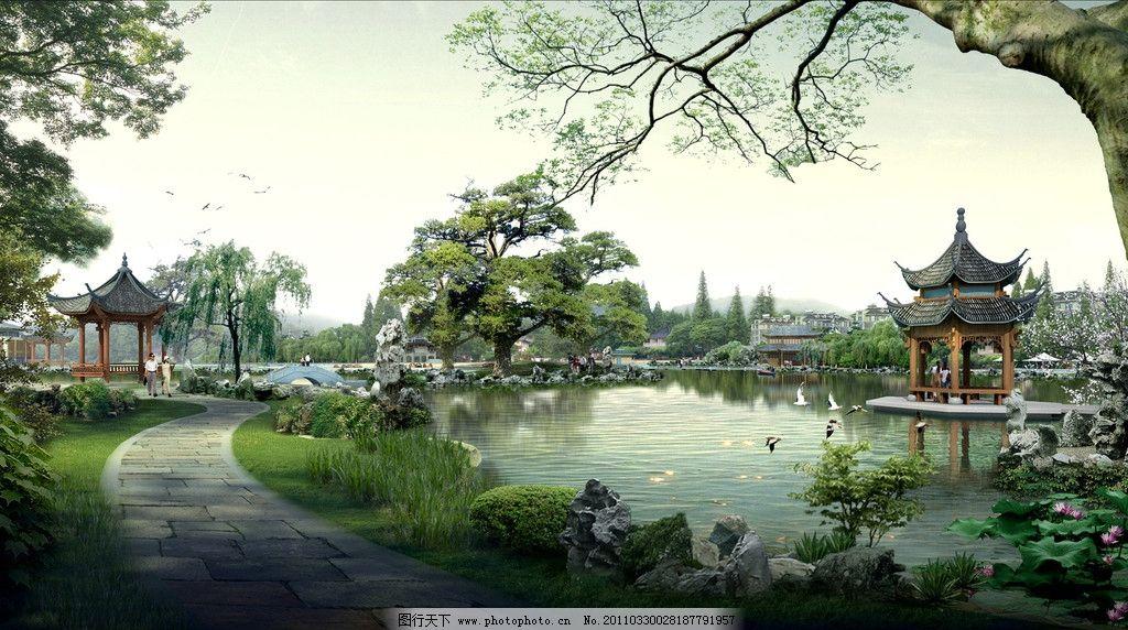 园林景观 园林景观效果图 亭子 湖 树 桥 人 路 荷花 天空 花 园林