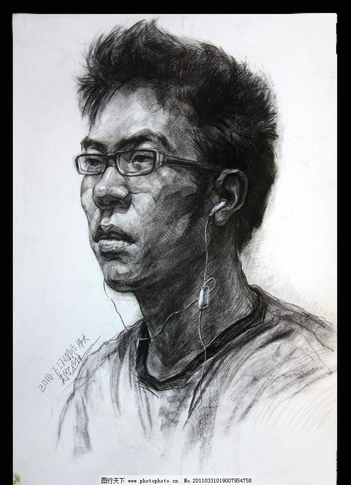 男青年 素描 艺术 肖像 高考绘画 半侧面 戴眼镜 耳机 绘画书法 文化
