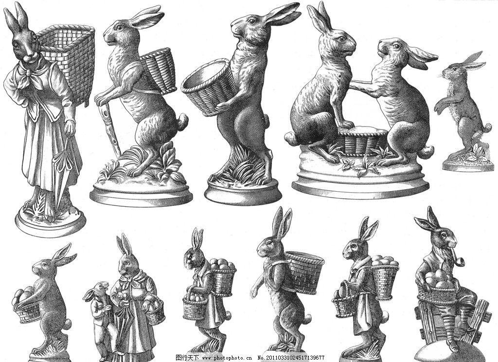 手绘兔子 兔子 手绘 素描 形态各异 动物 家禽家畜 生物世界 设计 300