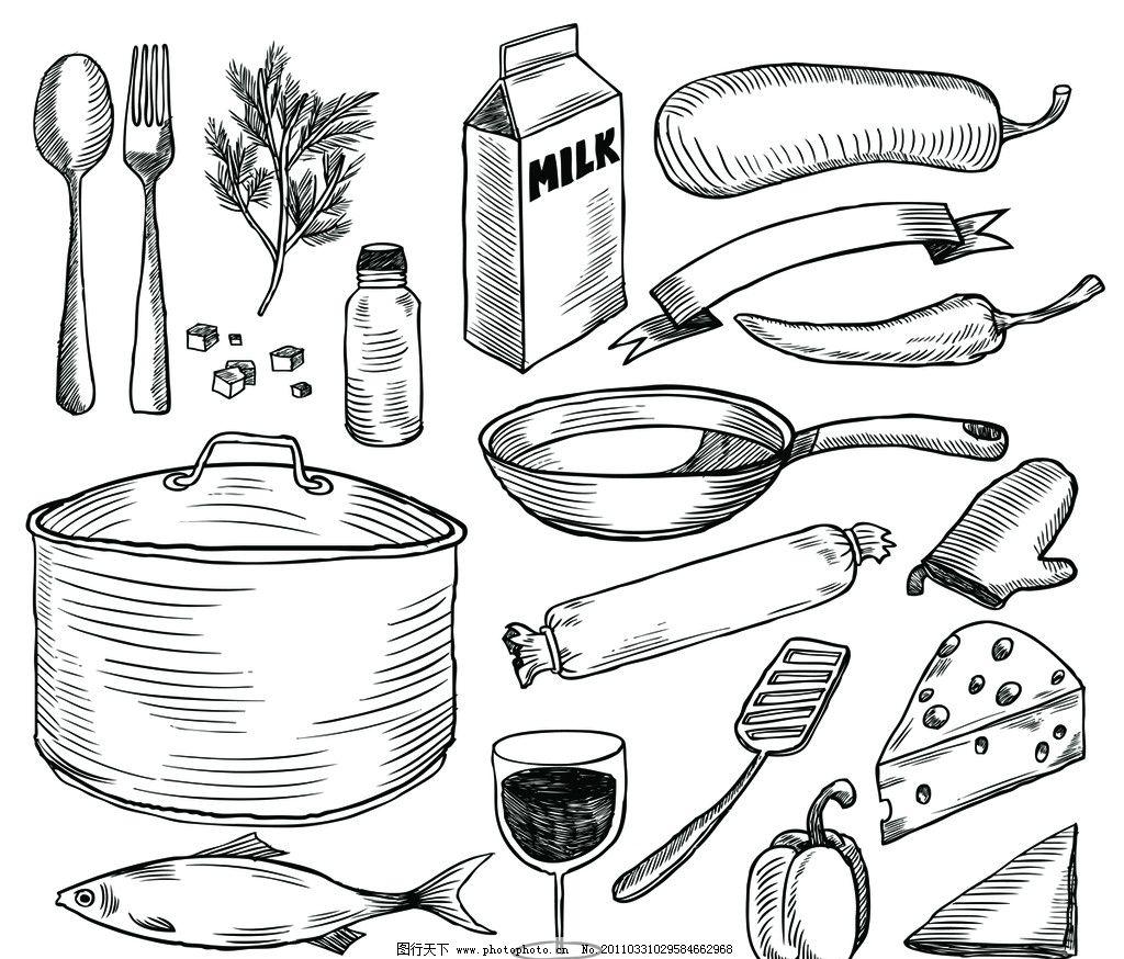 手绘餐具 食物 蔬菜 刀叉锅 酒杯 鱼 糕点 点心 古典 矢量素材