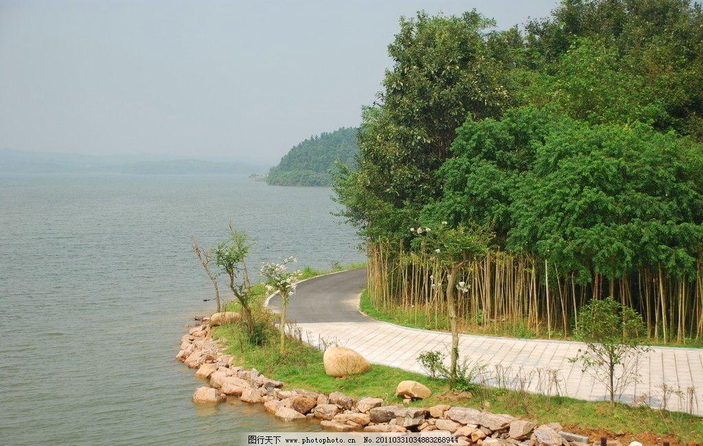 水库 树木 流水 石头 自然风景 山水风景 自然景观 摄影 300dpi jpg