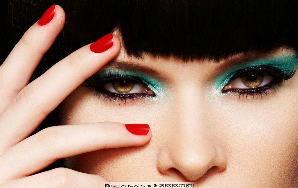 时尚美女脸部特写 睫毛 眼线 眼睛 明亮眼睛 美甲 红指甲 女人