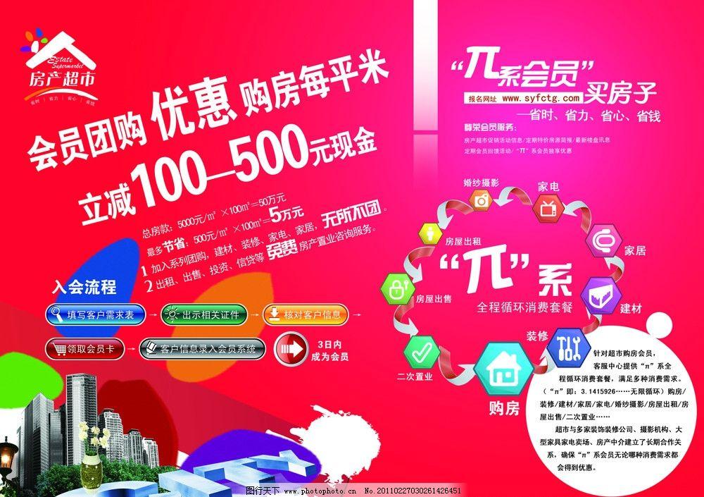 团购买房DM宣传单,地产广告传单,红色系DM,流程示意,时尚,美观,广告设计模板
